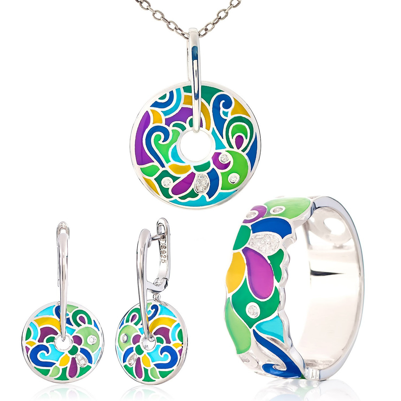 Комплект серебряных украшений с эмалью ( Серьги , кольцо, подвеска )