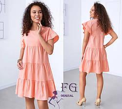 Летнее платье трапеция короткое с воланами розовое, фото 2