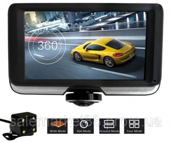 Авто видеорегистратор DVR К-8 Рыбий Глаз 360° с камерой заднего вида и сенсорным экраном