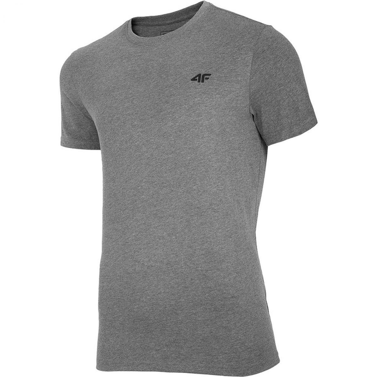 Мужская серая однотонная футболка 4F NOSH4-TSM003-24M
