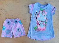 Пижама детская,Спальный комплект «Кошечка» серый, для девочки