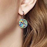 Комплект серебряных украшений  с эмалью ( Серьги , кольцо, подвеска ), фото 3