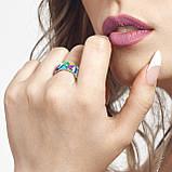 Комплект серебряных украшений  с эмалью ( Серьги , кольцо, подвеска ), фото 2