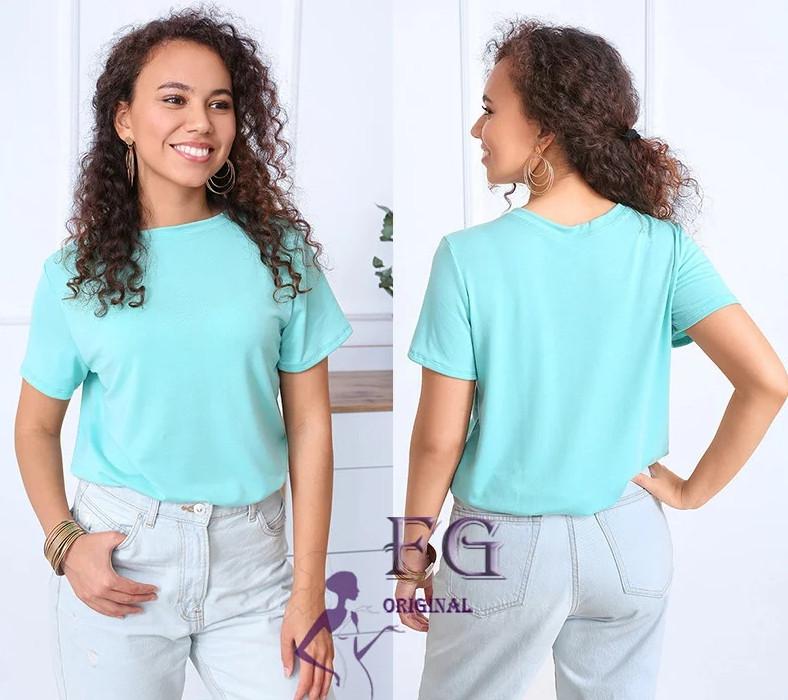 Річна однотонна базова вільна жіноча футболка м'ятна