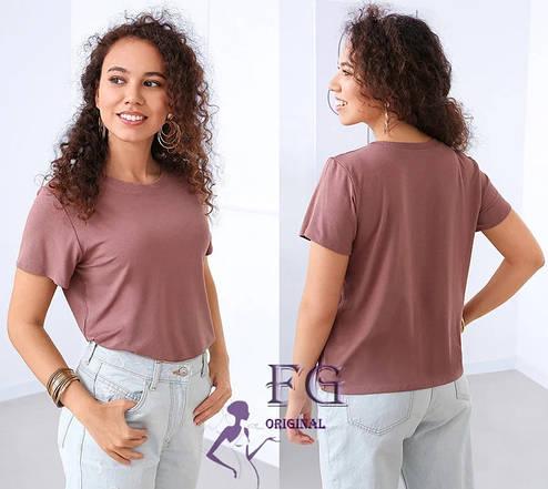 Легкая женская однотонная базовая футболка темно-бежевая, фото 2