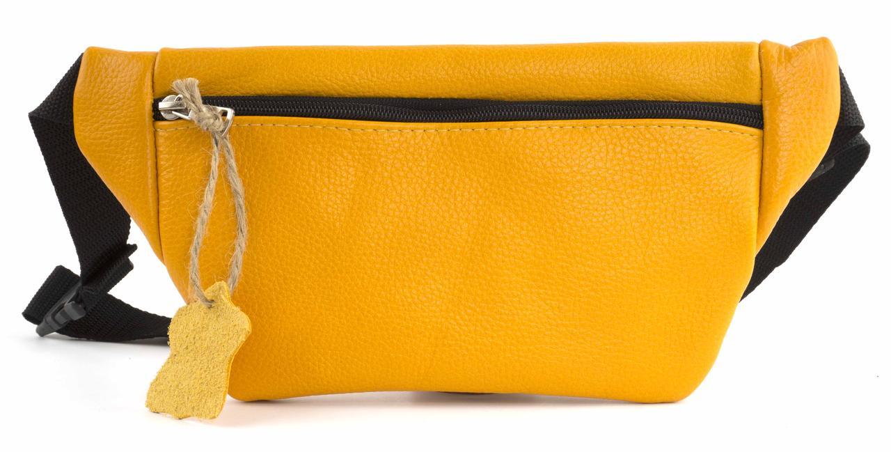 Стильная вместительная женская сумка на пояс бананка art. 104436 оранжевая