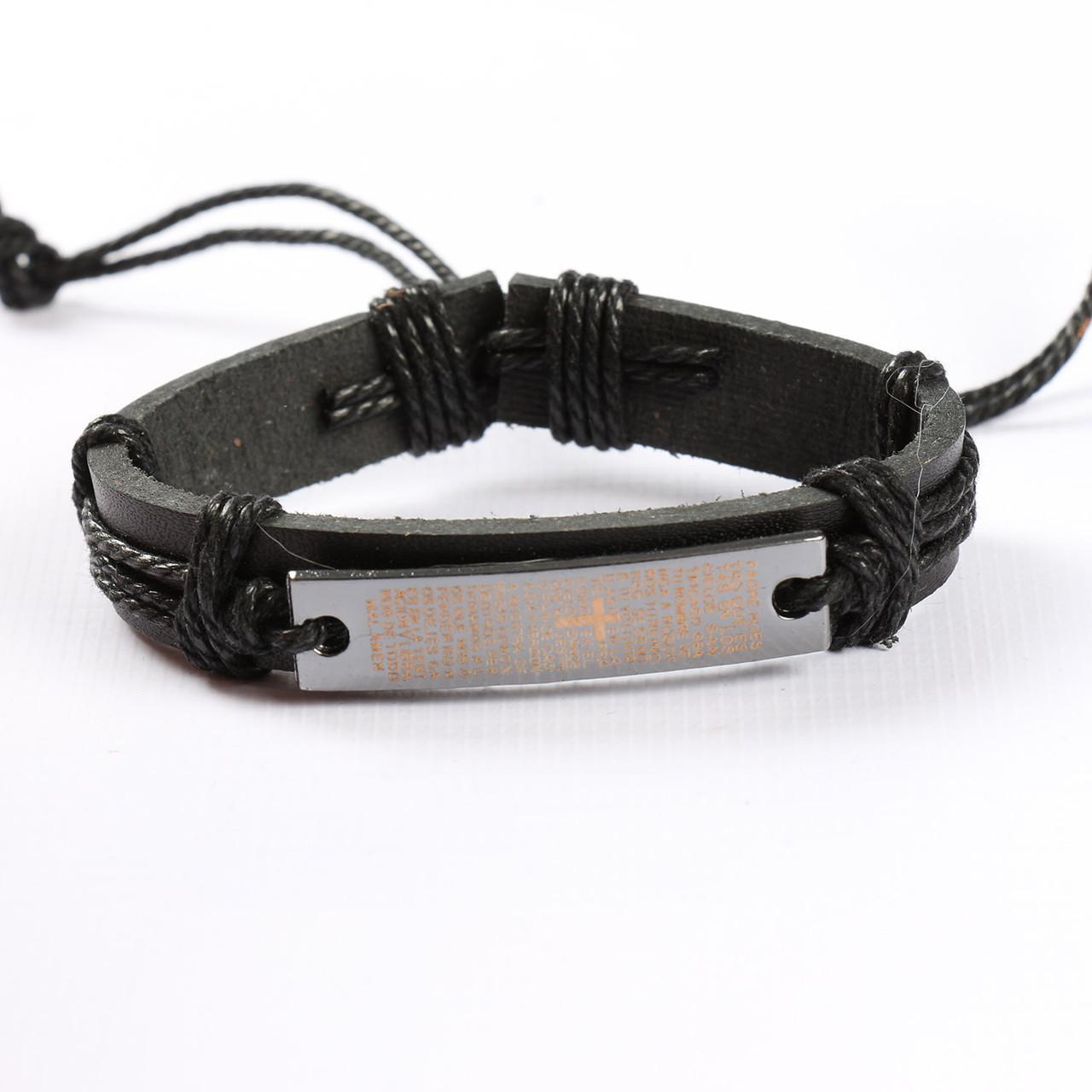 """Кожаный браслет для мужчин и женщин """"Молитва Black"""""""