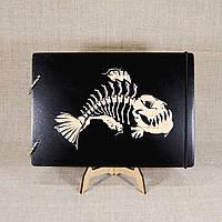 Деревянный блокнот М. Скетчбук А5 формата Рыбий скелет. Блокнот с деревянной обложкой Скелет.