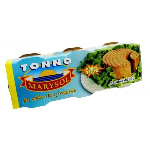 Тунец кусочками Tonno Marysol в подсолнечном масле in olio di girasole упаковка 3*80 г Италия