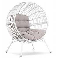 Кресло кокон плетенное на ножках Arancia бело-серый для дома, сада, кафе и ресторанов с нагрузкой до 150 кг
