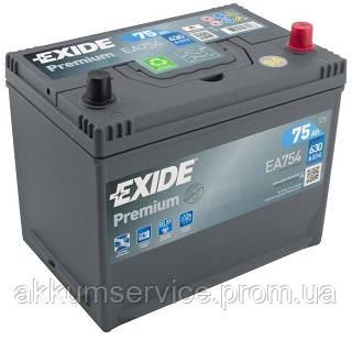 Аккумулятор автомобильный Exide Premium Asia 75AH R+ 630А (EA754)