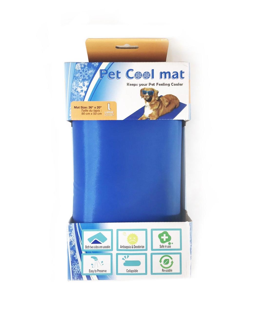 Коврик охлаждающий для собак pet cool mat размер L синий, 90х50 см