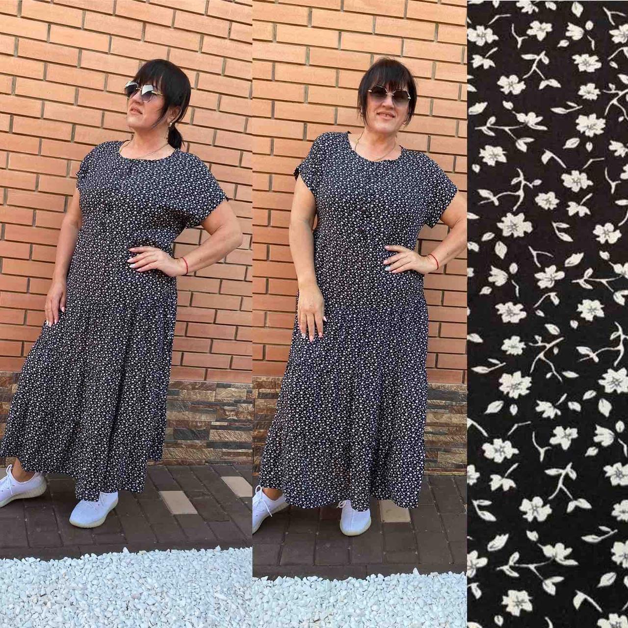 Платье лето свободного кроя батал арт. CDM-2740 черное с цветочным принтом / черный с растительными узорами