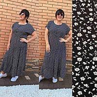 Платье лето свободного кроя батал арт. CDM-2740 черное с цветочным принтом / черный с растительными узорами, фото 1