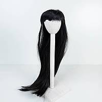 Парик для куклы с челкой, прямой черный (объем 22-24) - длина около 40 см