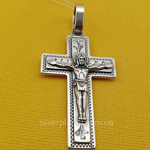 Мужской серебряный крестик. Православный кулон из серебра 925 пробы
