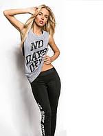 Женский спортивный костюм тройка для фитнеса, размер 42-44, 46-48, эластик, вискоза, черный, серый