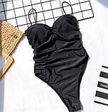 Слитный черный купальник с пуш-ап и эффектом утяжки, фото 6