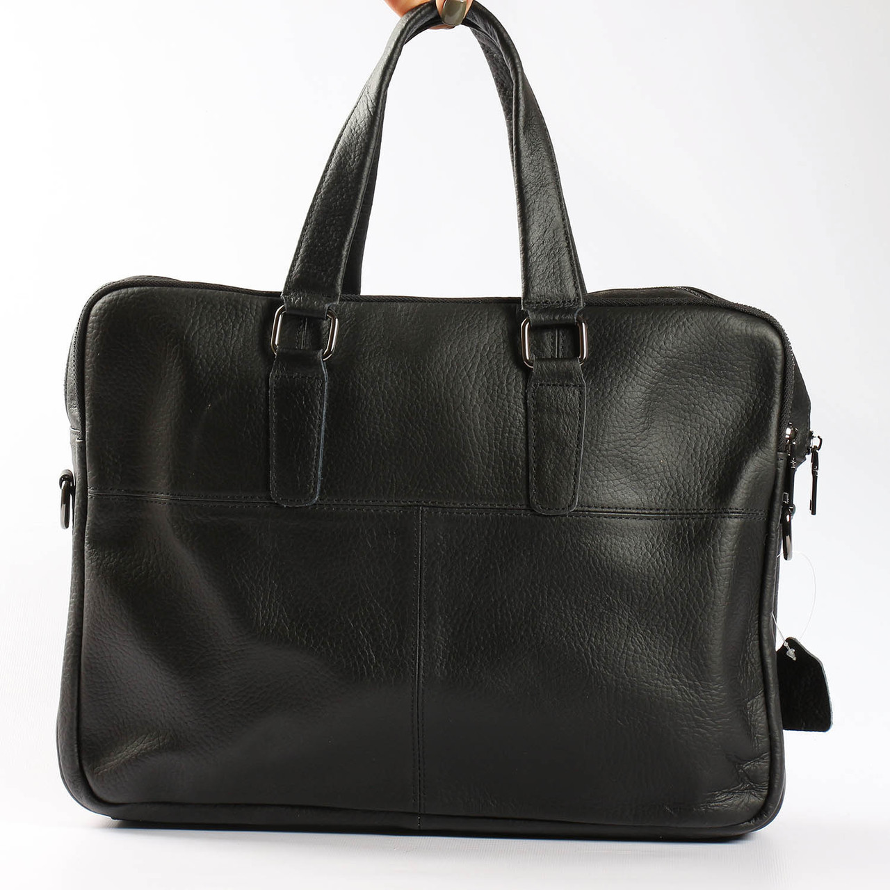 """Качественный кожаный портфель для ноутбука, деловой черный """"Leader Black"""""""