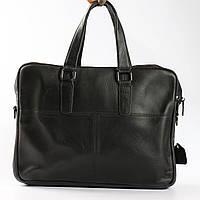 """Качественный кожаный портфель для ноутбука, деловой черный """"Leader Black"""", фото 1"""