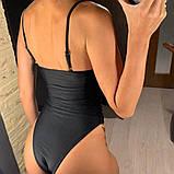 Слитный черный купальник с пуш-ап и эффектом утяжки, фото 5