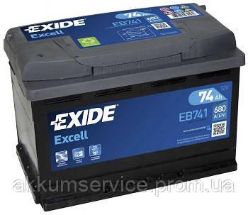 Аккумулятор автомобильный Exide Excell 74AH R+ 680А (EB740)