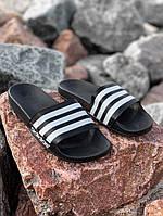 Женские шлепанцы Adidas. Стильные женские черные сланцыАдидас., фото 1