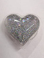 Попсокет 3D Glitter Heart Silver
