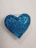 Попсокет 3D Glitter Heart Blue