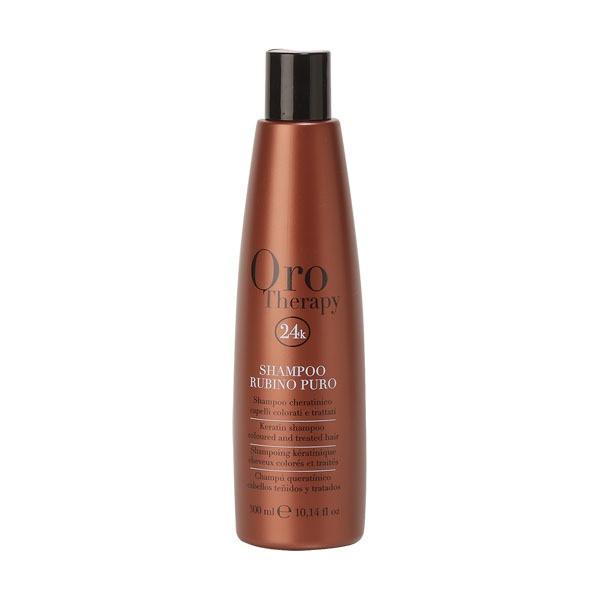 Рубиновый шампунь с кератином для окрашенных волос Fanola Oro Therapy 300 мл