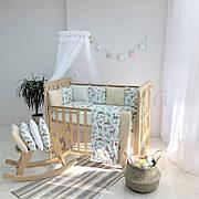 Комплект в кроватку Маленькая соня Baby Олени поплин стандарт/овал с бортиками 7 предметов детский арт.0120151