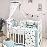 Комплект в кроватку Маленькая соня Baby Stars поплин стандарт/овал с бортиками 6 предметов детский мятный арт.0220229