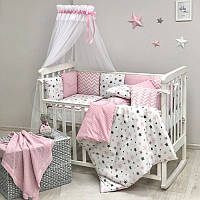 Комплект в кроватку Маленькая соня Baby Stars поплин стандарт/овал с бортиками 6 предметов детский розовый