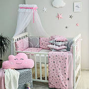 Комплект в кроватку Маленькая соня Baby Stars поплин стандарт/овал с бортиками 6 предметов детский розовый со звездами арт.0220443