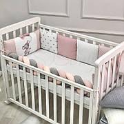 Комплект защита-бортики Маленькая соня Mouse поплин в кроватку стандарт/овал защита+простынь детский пудра арт.078479