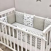 Комплект защита-бортики Маленькая соня Baby Stars поплин в кроватку стандарт/овал защита+простынь детский серый арт.0720228