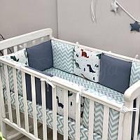 Комплект защита-бортики Маленькая соня Baby Дино 2 поплин в кроватку стандарт/овал защита+простынь детский синий арт.0719186