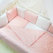 Комплект защита-бортики Маленькая соня Baby Кролики поплин в кроватку стандарт/овал защита+простынь детский пудра арт.0720223