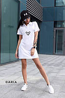 Летнее спортивное платье поло из двунитки с сердечком
