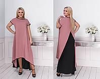 Модное платье в пол свободного кроя лёгкое стильное нежное батальная серия
