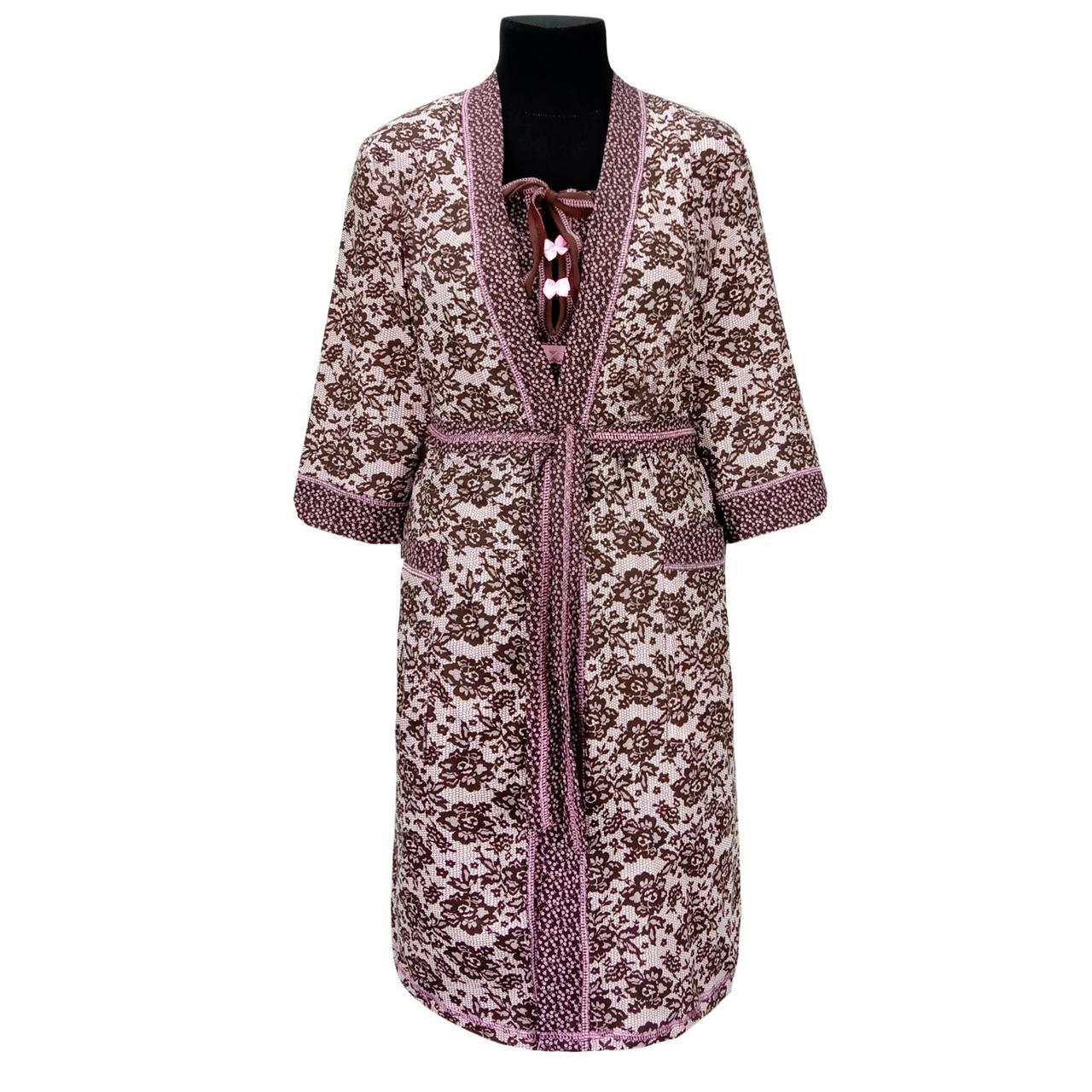 Комплект женский Ажур ночная рубашка и халат