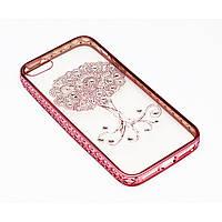 Чехол на iPhone 6/6s силиконовый прозрачный, дерево с камушками, с бампером под металл в камушках COV-057