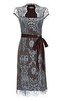 Платье коричневое из натурального шелка с отделкой из кружев голубого цвета модель Оливия