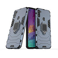 Чехол Ring case для Samsung Galaxy A11 (A115) бронированный бампер с кольцом темно-синий
