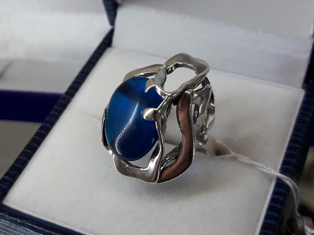 Срібне кільце з синім кубічним цирконієм