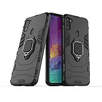 Чохол Ring case для Samsung Galaxy M11 (M115) броньований бампер з кільцем чорний, фото 1