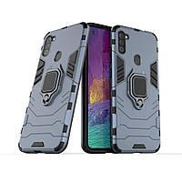 Чехол Ring case для Samsung Galaxy M11 (M115) бронированный бампер с кольцом темно-синий