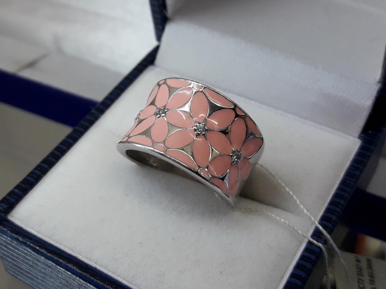 Срібне кільце з емаллю рожеве і чорне