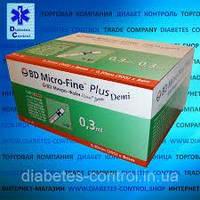 Шприцы Микро Файн Плюс DEMI 0,3 мл 0,30 (30G)*8 мм Micro-Fine Plus Demi 100 шт. 05.2024 г.