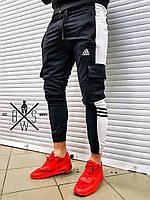 Штаны спортивные мужские Adidas черные, зауженные спортивные брюки Адидас
